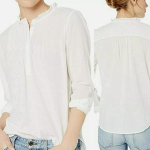 NWT J. Crew Mercantile Solid Pintuck Popover Shirt